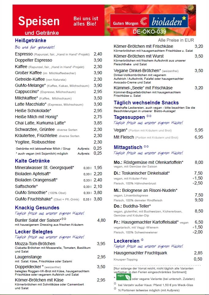 Speisekarte BioBistro Braunschweig